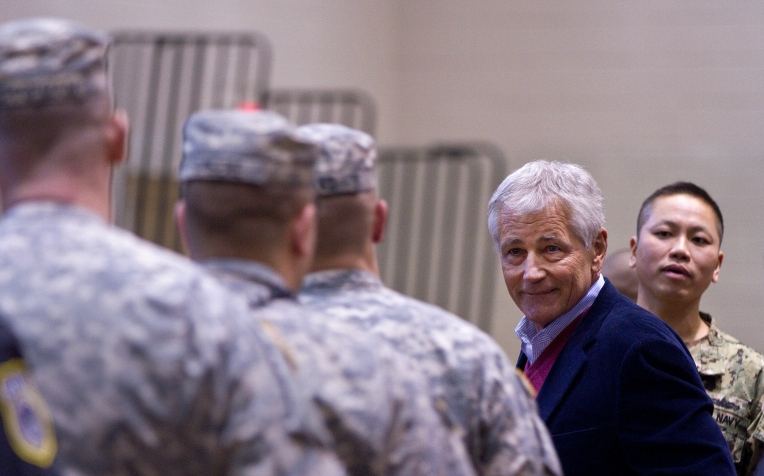 Defense Secretary Chuck Hagel greets soldiers at Fort Eustis on Tuesday afternoon.