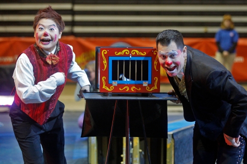 Clowns Mariko Iwasa, left, and Rudy Uresti perform during a small Ringling Bros. and Barnum & Bailey show for military families organized by Blue Star Families at Hampton Coliseum Thursday afternoon.