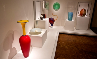 New displays are shown here inside the Contemporary Glass Galleries of the Chrysler Museum of Art.