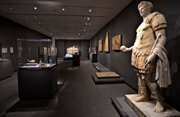"A view of the the Ancient worlds and non-western art gallery displays ""Standing Figure in Military Dress"" Roman 1-100C.E. in marble."