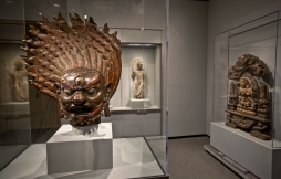 A Dharmapala (Guardian Figure) Tibetan, 1800-1900 C.E. of bronze with pigment is on display inside the Chrysler Museum of Art.