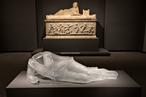 """Reclining Drapery Impression"" by Karen LaMonte, (front) and a Roman Sarcophagus, 250 - 300 C.E. in marble will be two items visitors will see when the Chrysler Museum of Art, reopens May 10."