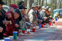 Guests sample fish during the 66th annual Shad Planking Wednesday afternoon in Wakefield.