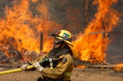 A firefighter pulls a hose in position while battling the Cocos fire on May 15, 2014 in San Marcos, California. Fire agencies throughout the state are scrambling to prepare for what is expected to be a dangerous year of wildfires in this third year of extreme drought in California. (Photo by David McNew/Getty Images)
