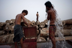 Workers bathe from a well at a logging area on the outskirts of Yangon. Logging in Myanmar exploded under the former junta, as the generals tossed aside sustainable forestry practices in their thirst to cash in on vast natural resources. Logging in Myanmar exploded under the former junta, as the generals tossed aside sustainable forestry practices in their thirst to cash in on vast natural resources. AFP PHOTO / YE AUNG THU