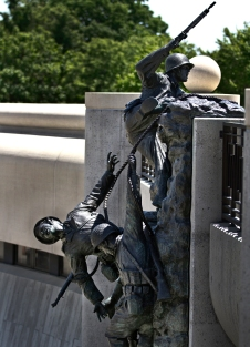 The National D-Day Memorial honors the WW II Allied forces that participated in the invasion of Normandy on June 6, 1944. Parts of monument recreates solders climbing off the beaches during the invasion.