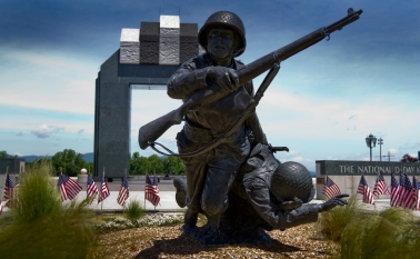 The National D-Day Memorial Foundation in Bedford Va. attempts to give visitors a version of what it was like to storm the beaches on June 6, 1944 through its active display of sculpture and layout.