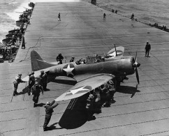 The planes of Torpedo Squadron Six (VT-6) prepare for launching on the USS Enterprise early on the morning of June 4, 1942. (Courtesy of the Naval History and Heritage Command / June 4, 2014)