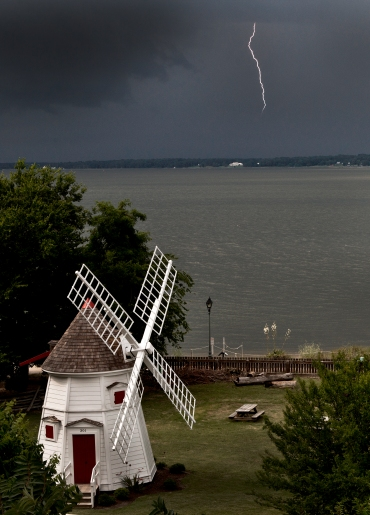 Lightening strikes during the storms approach over the York River Thursday afternoon. (Photo by Joe Fudge)