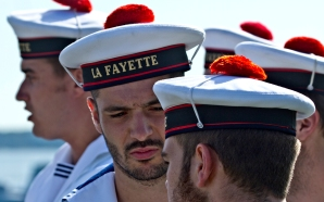 French sailors from the4 La Fayette gather on shore before the start of the program Monday in Yorktown. (Photo by Joe Fudge)