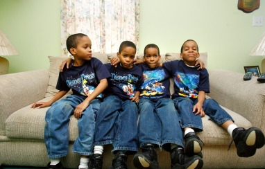 The Jones quadruplets from left, Karlyle, Kahlil, Karon, and Kameron of Smithfield are now 10 years old. The boys, now 10, were the first set of quadruplets born at Riverside Regional Medical Center and are two sets of identical twins. (Daily Press file Photo)(February 15, 2006)