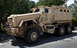 An MRAP acquired the York - Poquoson Sheriff's office stands on display during active shooting drills in Williamsburg.