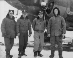 Maurice Smith is pictured on the left in this photo of his C-47 crew during WWII. Smith was the radio operator when his plane was tasked to ferry Airborne troopers behind enemy lines in Normandy just before the D-Day invasion. (Photo by Robert Ostermaier)