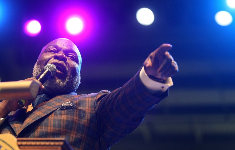 Bishop T.D. Jakes speaks at the Tuesday evening service of the 100th annual Hampton University Ministers' Conference at the Hampton University Convocation Center.