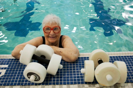 Aqua-aerobics instructor Pauline Higgins, 89, at the Riverside Wellness Center in Newport News on Thursday. Mrs. Higgins teaches three 55-minute classes back to back on Tuesdays and Thursdays.