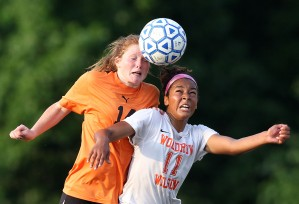 Rachel Brewer of Tabb heads the ball away from Cynthia Brown of Wilson during the secnond half Wednesday at Wilson.