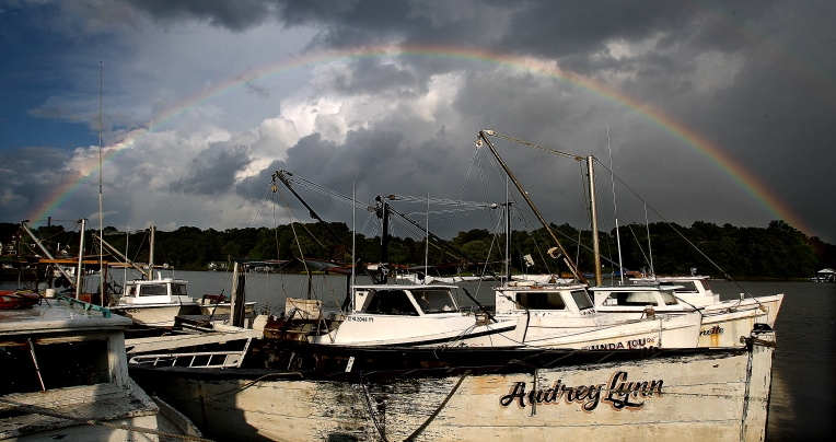 After thunderstorms rolled through the area Saturday a rainbow appears over Deep Creek in Newport News. (Photo by Rob Ostermaier)