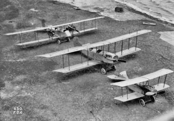 This view from the roof of the Curtiss Flying School hangar shows three of the school's planes, including from left, an experimental twin-engineaircraft, a JN4 Jenny and a Speed Scout. (Courtesy of Kurt P. Wheaton)