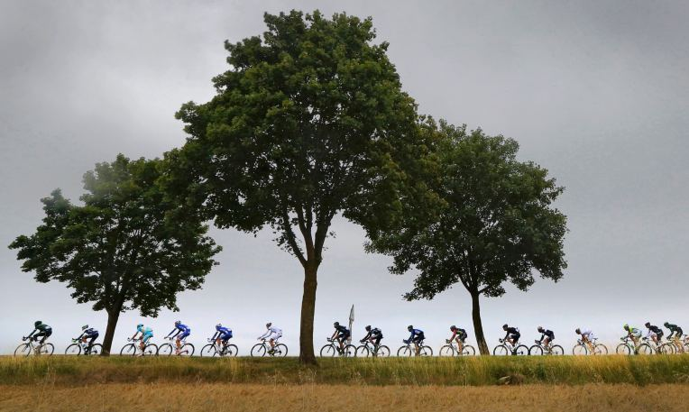 The pack of riders cycle through rural France during the 7th stage of the Tour de France cycle race between Epernay and Nancy, July 11, 2014.      REUTERS/Jean-Paul Pelissier