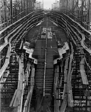 The passenger liner America under construction at Newport News Shipbuilding on 9/1/1938. Courtesy of Newport News Shipbuilding.