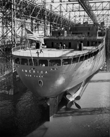 The flag-flying stern of the passenger liner SS America is shown on launching day at Newport News Shipbuilding Aug. 31, 1939. Courtesy of Newport News Shipbuilding