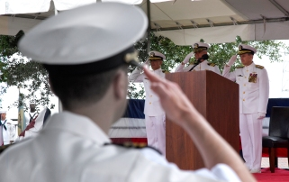 The change of command ceremonies typically take place on decks of their respective carriers, however the Lincoln is currently undergoing a four year refueling and complete overhaul on the docks of Newport News Shipbuilding. So Thursday's ceremony was held at Victory Landing Park. (Photo by Joe Fudge)