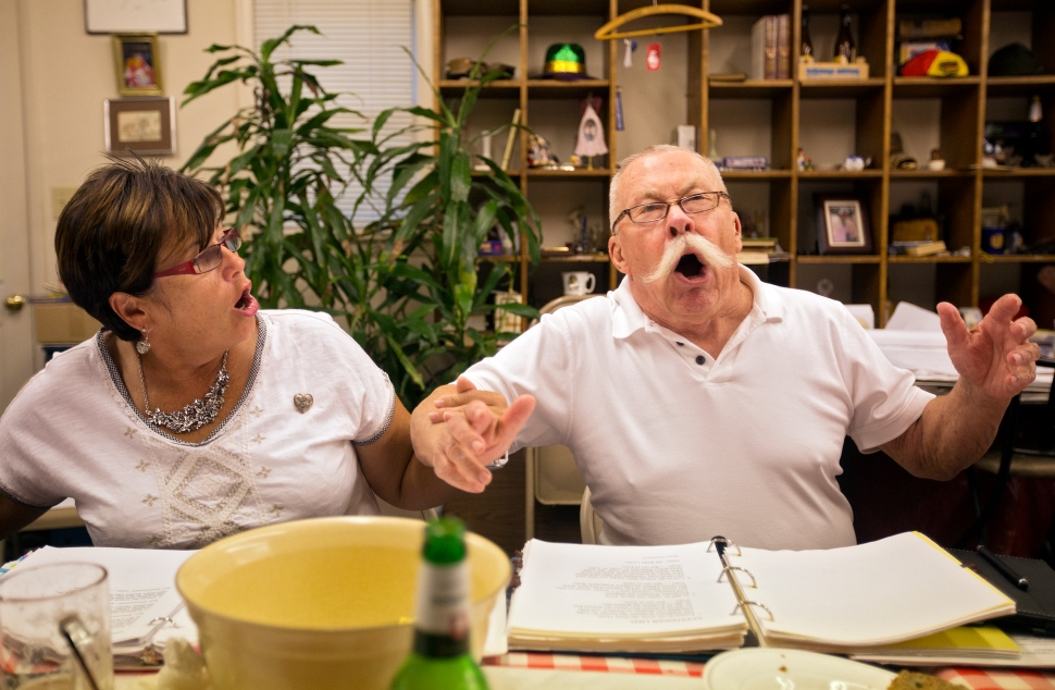 Petra Hoyos and Jack Hilgers sing along during a German folk singing gathering on August 25 in Yorktown. Hilgers, who travels from Virginia Beach to sing with the group, said he comes for the friendship, camaraderie and fellowship.
