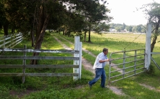 Tim Kelley opens a gate for a tractor to pass through on Willow Oak Farm in Hampton. (Photo by Kaitlin McKeown)