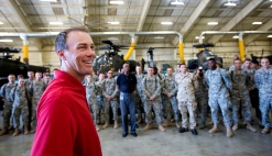 NASCAR driver Kevin Harvick greets troops from the 128th Aviation Brigade and its training support at Fort Eustis on Wednesday.