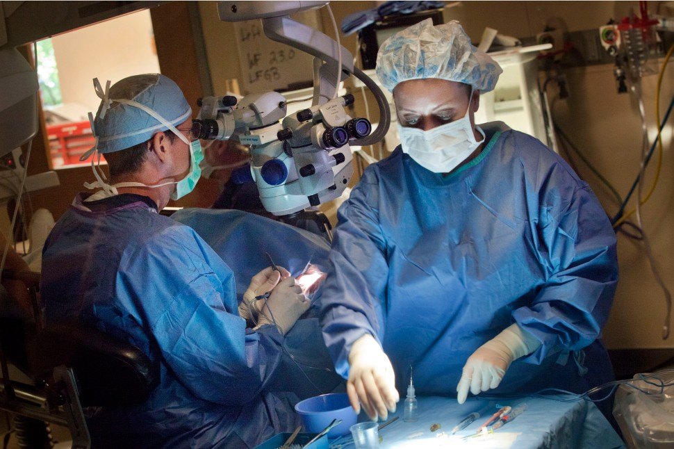 Dr. Stephen Scoper, left, refractive surgeon and corneal specialist, performs cataract surgery on Brenda Shepherd  at Virginia Eye Consultants in Norfolk on August 14, 2014. For a second year Virginia Eye Consultants is providing free eye surgery to dozens of the uninsured and underinsured.