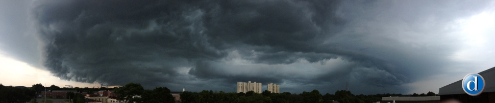 A severe thunderstorm packing high winds approaches Newport News  crossing over the James River and Windward Towers Monday afternoon.