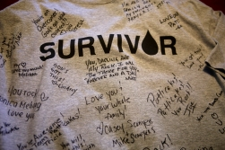 One of Patti Minium Moonis shirts from a cancer walk signed by friends and family. Patti was diagnosed with chronic myelogenous leukemia in October in 2013. (Photo by Jonathon Gruenke)