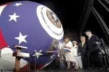 Jeanne Warner christens the submarine John Warner SSN 785 Saturday evening at Newport News Shipbuilding.