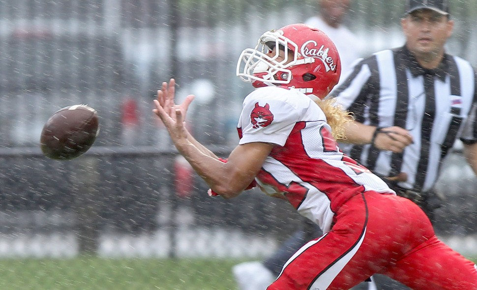 Evan Pitcavage of Hampton can't get to this pass during the fourth quarter Saturday against Heritage.