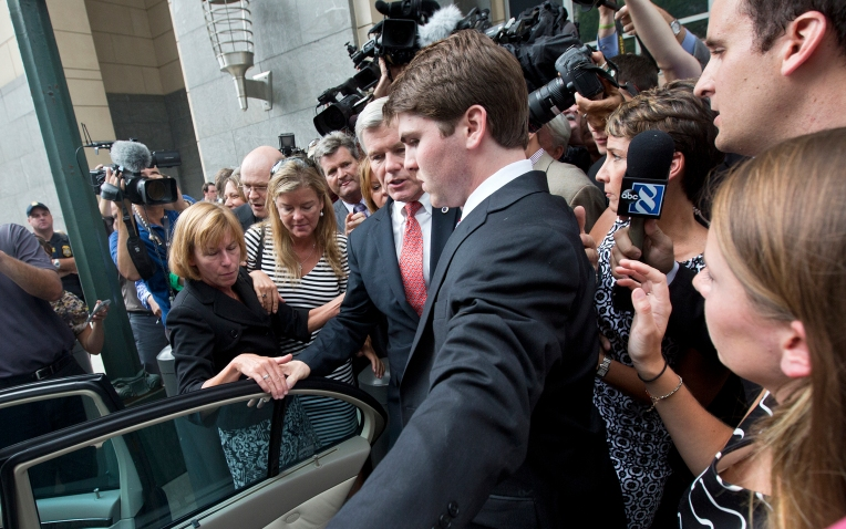 Former Gov. Bob McDonnell is swarmed by media as he leaves the federal courthouse after being found guilty on multiple counts on Thursday afternoon in Richmond.