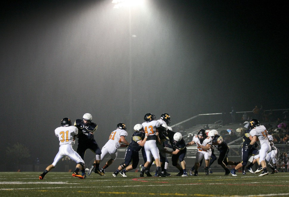 A steady mist falls at Wanner Stadium Thursday as Tabb and Lafayette battle it out under the lights. (Photo by Rob Ostermaier) For more photos click here. For Video.