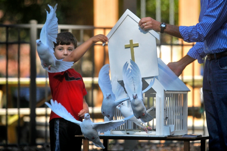 Jackson Harrington, 5, and Don Kane release doves as a ceremonial way to remember past pets during a Blessing of the Animals service at Hidenwood Presbyterian Church Saturday morning. The church hosts the event that coincides with the feast of St. Francis of Assisi, the patron saint of animals. Dozens members of the community attended with their animals. (Photo by Jonathon Gruenke) For more pictures.