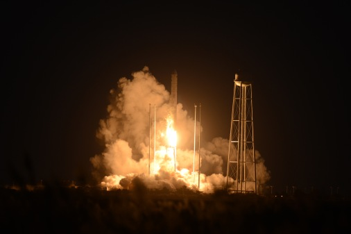 Orbital's Antares rocket lifts off from the Mid-Atlantic Regional Spaceport on Tuesday, Oct. 28, 2014. The rocket exploded shortly after takeoff at Wallops Flight Facility in Virginia. ( Jay Diem/Eastern Shore News)