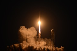 Orbital's Antares rocket lifts off from the Mid-Atlantic Regional Spaceport on Tuesday, Oct. 28, 2014. The rocket exploded shortly after takeoff at Wallops Flight Facility in Virginia. (Jay Diem/Eastern Shore News)
