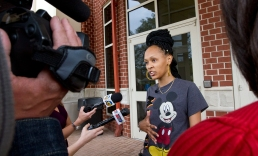 Shonte Howard, aunt of 13-year-old homicide victim Jada Richardson, speaks with media following a police press conference on Tuesday afternoon at Newport News Police Headquarters. (Kaitlin McKeown)