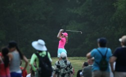 Paula Creamer takes her tee shot on the 13th hole Saturday during the fourth round of the Kingsmill Championship Sunday.