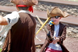 Rory Kershaw, right, sword fights with Richard Lebel during Saturday's Blackbeard Pirate Festival in Hampton.