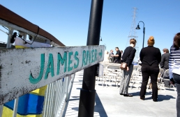 The city of Newport News holds a ribbon cutting ceremony to open the first 900 feet of the new James River Fishing Pier on Friday.