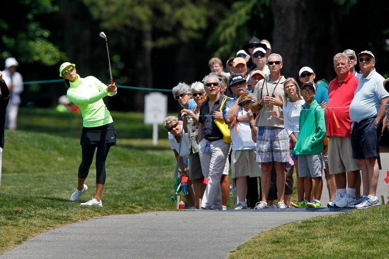 Michelle Wie hits the ball on the 9th hole during the first round of the LPGA Kingsmill Championship on May 14, 2015. (Photo by Jonathon Gruenke/Daily Press)
