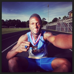 """Phoebus' Dartrez Thompson is the male outdoor track Daily Press all-star for the 2015 season. His selfie was processed through the """"Amaro"""" filter in Instagram."""