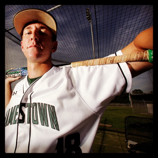 """Jamestown's Evan Lowery is the Daily Press baseball all-star for spring 2015. His selfie has been processed using the """"Hefe"""" filter in Instagram."""