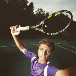 """Menchville tennis player Matthew Strehle is the Daily Press all-star for 2015. The photo was processed in Instagram using the """"Reyes"""" filter."""