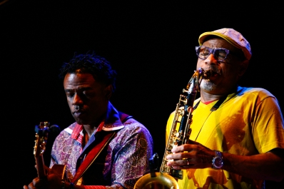 Guitarist Norman Brown, left, and saxophonist Kirk Whalum perform on the third day of the 2015 Hampton Jazz Festival at the Hampton Coliseum in Hampton, Va., on Sunday, June 28, 2015.