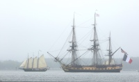 The Alliance sails by the Hermione, a replica of an 18th century sailing ship, on the York River on Friday morning June 5, 2015. (Kaitlin McKeown)