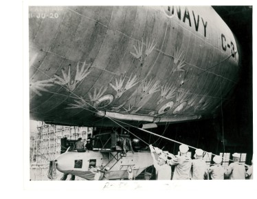 A Navy ground crew struggles to control the tethers to the service's C-3 airship, which took part in the June 11, 1920 aerial display marking the dedication of Langley Memorial Aeronautical Display in Hampton. Courtesy of the Navy History and Heritage Command